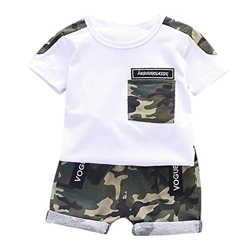 Gyratedream Baby Jongens Zomer Outfits Sets Korte Mouwen Tops Blouse T-Shirt+Camouflage Patroon Shorts voor 0 tot 4 Jaar oud
