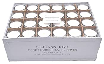 White Unscented Glass Votive Candle - Pack of 48 | Bulk Pack for Weddings Bridal Showers or Home Parties and Centerpieces
