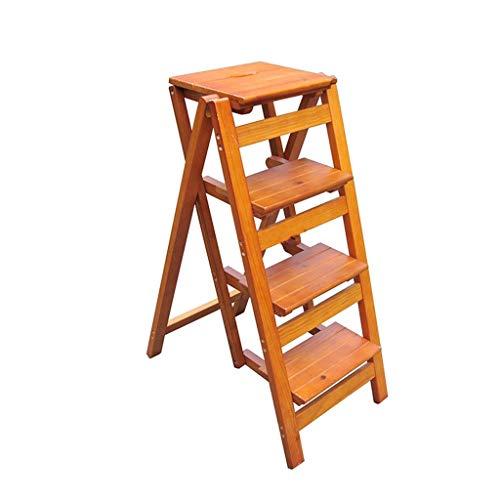 QFF Massivholz-Vier-Stufenleiter, Durable Stehleitern Vier-Tier-Rack-Lebensmittel Rack/Spielzeug Rack/Bücherregal vier Farben Folding Stärke: 9 cm falten (Color : C, Size : 42 * 68 * 92cm)
