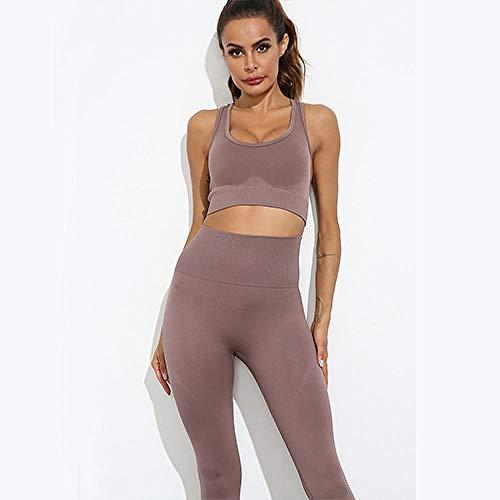 Broek Rechte broek voor yoga,Dames Naadloze Fitness Sport Yoga Set,Hoge taille hardlooplegging Top-Champagne_S,Dames yoga broek Biologisch katoen