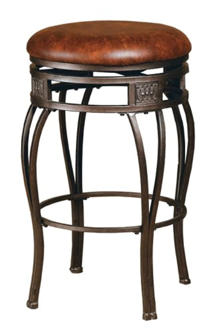 Hillsdale Montello Backless Swivel Counter Stool, Old Steel Finish with Brown Faux-Leather htjza0880122644