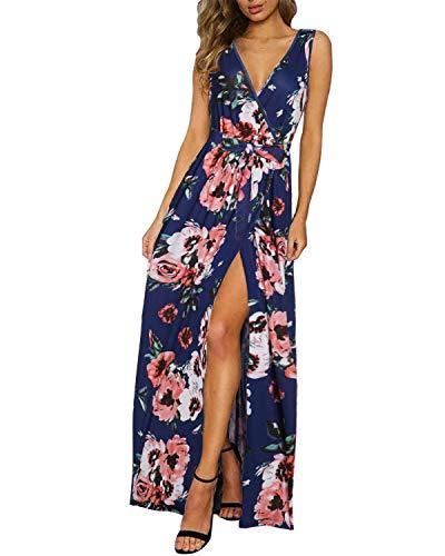 KILIG Women's Sexy V-Neck Maxi Dresses Sleeveless Print Long Beach Dress with Pockets(Floral,XL)