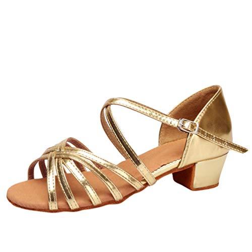 LaoZan Damen Mädchen Kleinkind Kinder Salsa Tanzschuhe Latein Tango Tanz Pumps Sandalen Party Schuhe (Gold, Größe 33)