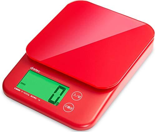 dretec(ドリテック) キッチンスケール デジタル 5kg/1g単位 バックライト 風袋引き 取り外して洗える計量皿 KS-513RD(レッド)