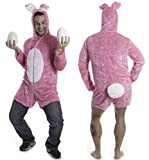 Hasenkostüm in Pink mit kurzen Hosenbeinen und Riesen-Puschel Einheitsgröße Unisex groß...