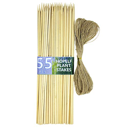 "HOPELF 12"" Bamboo Plant Stakes for Wood Garden Sticks,Wooden Plant Supports,Tomato Stakes,Floral Picks,Potted Plants,Crafts,Φ=5mm, More Size Choices 8""/12""/16""(55 PCS)"