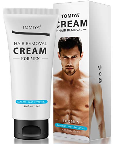 TOMIYA's for Men Premium Hair Removal Cream - Painless Hair Removal for Men - Skin Friendly & Fast & Effective - Smoothing Depilatory Cream For Unwanted Male Body Hair