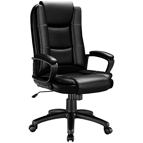 OFIKA Home Office Chair, Ergonomic Desk Chair, Adjustable Task Chair for Lumbar Back Support, Computer Chair with Rolling Swivel and Armrest, Modern Executive High Back Leather Chairs. (Balck)