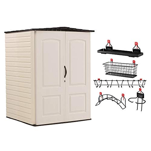 Rubbermaid Medium Vertical 106 Cu Ft Outdoor Storage Shed & Shelf Accessories
