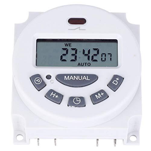 Jeanoko Botón de Goma de 16 Grupos Interruptor de sincronización de Alta precisión Interruptor de Control de Tiempo Tamaño pequeño Digital para electrodomésticos y farolas(220V)