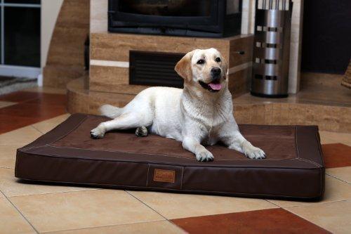 tierlando Oscar VIP Ortho Hundematratze Kunstleder Velours Orthopädisches Hundebett VISCO Größe: OS4 100cm | Farbe: AL-01 braun