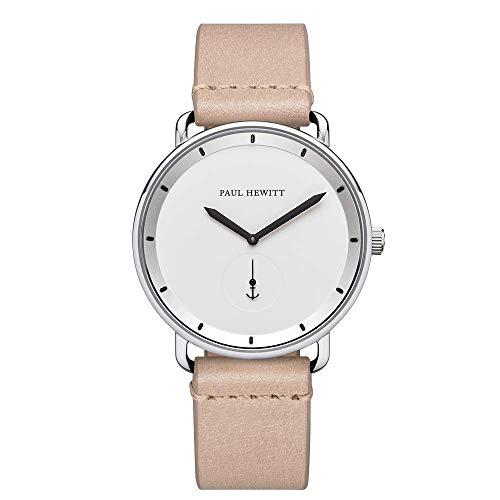 PAUL HEWITT Armbanduhr Männer Edelstahl Breakwater White - Silberne Herren Uhr mit Lederarmband (Sandfarben) und weißem Ziffernblatt