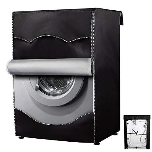 Schutz des Deckels der Waschmaschine Für den Wäscheservice zu Hause Wasserdichte Abdeckung Sonnenschutz Frontladeschutz Waschgerät Staubschutz (Schwarz)