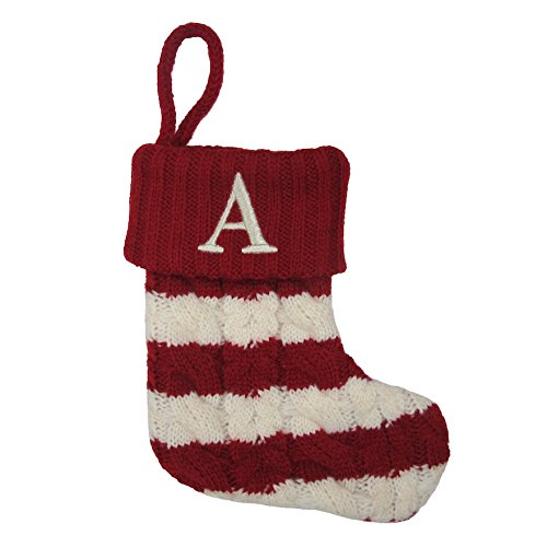 Red and White Stripe Christmas Stocking with Alphabet
