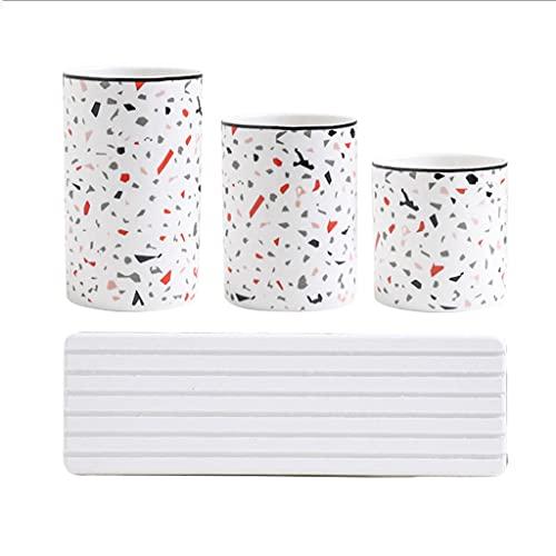 ZANZAN Vaso de cerámica para Soporte de Cepillo de Dientes Pinceles de Maquillaje Baño Organizador de encimera de baño Soporte para el Dormitorio de baño (Color : 4-Piece Set)