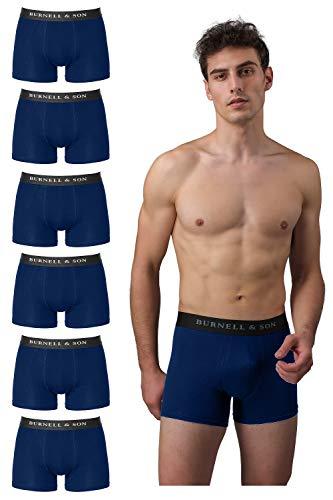 Burnell & Son Boxershorts Herren aus Baumwolle 6er Pack Blau Größe XXL
