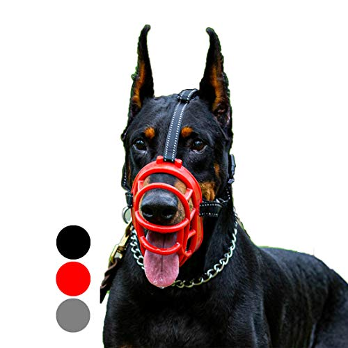 Dog Muzzle, Soft Rubber Basket Muzzle Cage Muzzle for Small Medium Large Dogs,Adjustable, Anti-Barking and Anti-Chewing,Allows Drinking and Panting, Used with Collar(Black,1)
