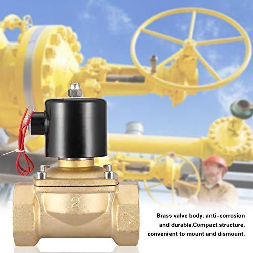 SISHUINIANHUA NC Magnetventil 220VAC DN50 220V Magnetventil 2 Zweiwege-Elektromagnetventil aus Messing, normalerweise geschlossen