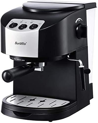 Barsetto Espressomaschine Kaffeemaschine 15 Bar, 2 im 1 siebträgermaschine mit Milchaufschäumer zum Cappuccino/Latte Macchiato/Moka,1050W