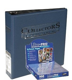Ultra Pro 3-Ring Collectors Album Blue + 100 9-Pocket Silver Pages - Magic: The Gathering - Yu-Gi-Oh!