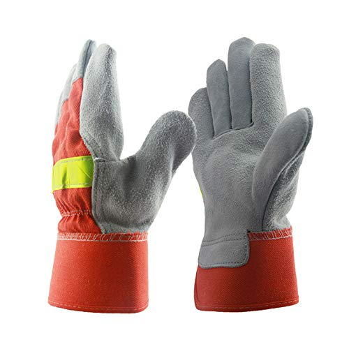 YJF Cowhide Split Leather Work Gloves Safety Gloves for Men And Women Work for Truck Driving, Construction, Welding, Gardening