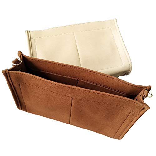 Tourdream Purse Organizer Insert Fit LV Toiletry Pouch 26 Handbag Shaper Premium Felt with Buckles, Brown (LV Toiletry Pouch 26, Brown)