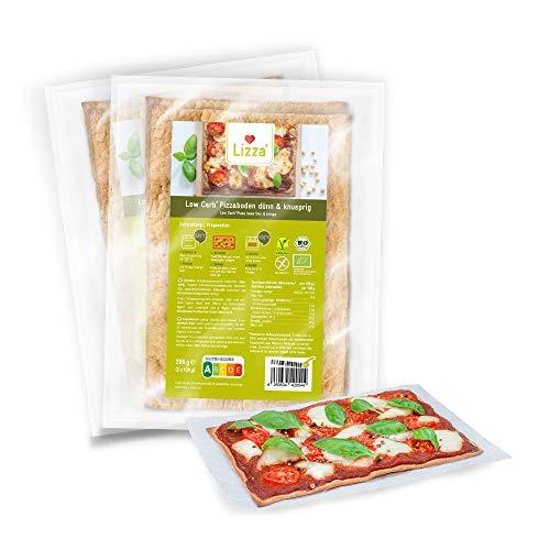 Lizza Low Carb Pizzaböden (Dünn & Knusprig) | 94% weniger Kohlenhydrate | Bio, Glutenfrei, Vegan | Keto | Protein- und Ballaststoffreich | Ohne Zuckerzusatz | Ohne Konservierungsstoffe | 8x Pizzaböden