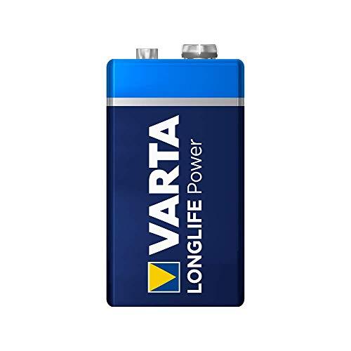 Varta 11500122 - Longlife Power 9V Block 6LR61 Batterie, Alkaline E-Block Batterien, Kapazität 580 mAh - ideal für Feuermelder, Rauchmelder und Stimmgerät