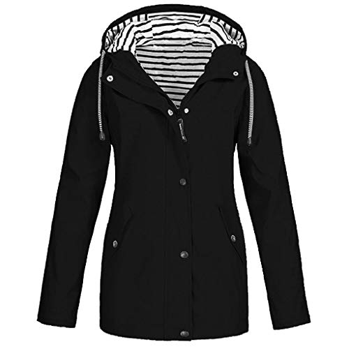 SHOBDW Liquidación Venta Abrigos Mujer Invierno Largos 2019 Moda Informal Outdoor Abrigo Parka Capucha Impermeable Rompevientos Mujer Cremallera Bolsillo Chaqueta Mujer Talla Grande(Negro,3XL)