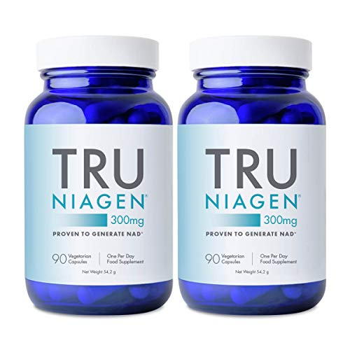 TRU NIAGEN Nicotinamide Riboside NAD+ Supplement for Reduction of Tiredness & Fatigue, Patented Formula NR is More Efficient Than NMN - 90 Count - 300mg Per Serving (6 Months / 2 Bottles)