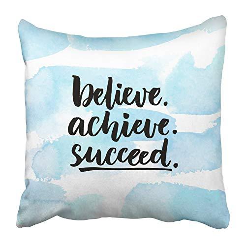 AEMAPE Federe per Cuscini Credi di Ottenere Successo Citazione ispiratrice sulla Vita Positivo Sfidante Dicendo Pennello Lettering 40X40 Cm