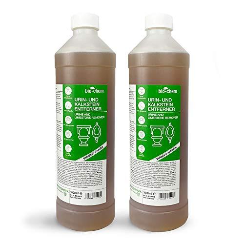bio-chem Urinstein-Löser Gel Sparpack 2x 1000 ml Konzentrat inkl. Schrägdüse, Urinstein-Entferner extra stark, Kalk-Entferner/Kalk-Löser, WC-Reiniger, Abfluss-Reiniger