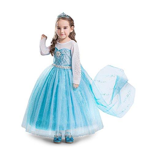 ELSA & ANNA® Filles Reine des Neiges Princesse Partie Costumée Déguisements Robe de Soirée FR-DRESS-SEP304 (6-7 Ans, FR-SEP304)