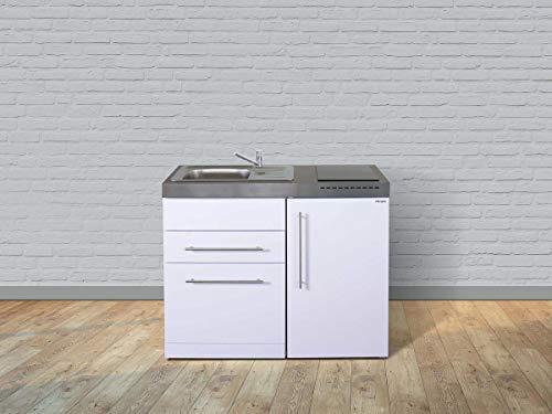 Stengel Miniküche Premiumline MPGS 110 Singleküche mit Kühlschrank, Spülmaschine und Glaskeramikkochfeld, Pantryküche, Singleküche - Farbe: weiß/Breite: 110cm