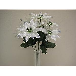 4 Bushes Cream Christmas Glitters Poinsettia Artificial Silk Flowers 12″ Bouquet 7-2209 CR