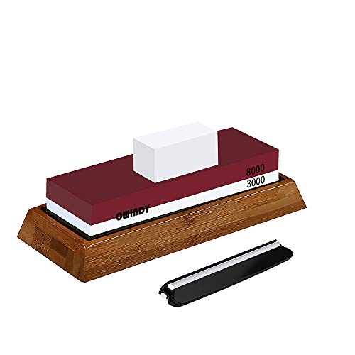 CWIDNY 3000/8000 Grit Sharpening Stone Whetstones Knife Sharpening Stones Waterstones Wetstones Wet Stones Knife Sharpener Stones Angle Guide, Bamboo Base and Fix Stone Included
