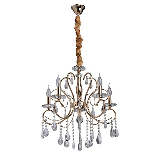 MW-Light 373012705 Eleganter Schicker Kerzen Kronleuchter 5 Flammig Goldfarbiges Metall Transparentes Glas Wohnzimmer Schlafzimmer Esszimmer Restaurant Hotel 5 x 40W E14