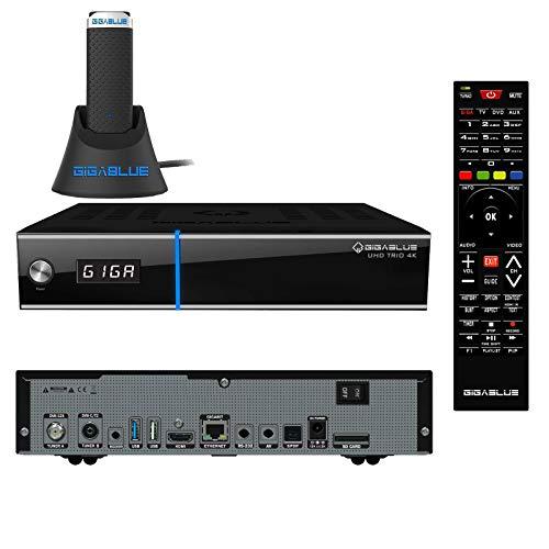GigaBlue UHD Trio 4K 2160p 1xDVB-S2X 1xDVB-C/T2 Tuner Multistream E2 Linux inkl. 1200Mbit WLAN Stick, 2160p, HDMI, PVR, SD-Card, Receiver Schwarz