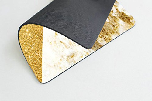 Smooffly Pink Gold White Marbling Rectangle Gaming Mouse Pad Personalized Custom Design,Pink Gold Glitter and White Marble Texture Mouse Pads Photo #2