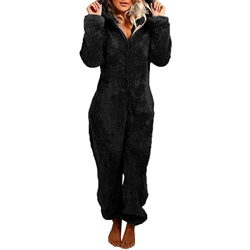 Autumn and Winter Cute Zipper Hooded Jumpsuit Ladies Fleece Pajamas Trousers Pajamas Plush Hoodie Pajamas Black