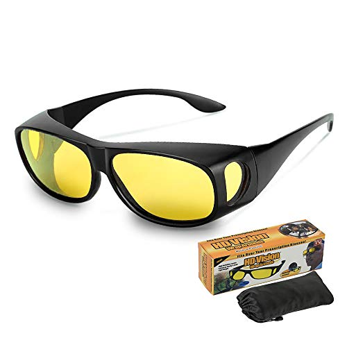 HITBOX HD Night Vision Driving Glasses Wrap Around Anti Glare Day Sunglasses with Polarized Lens Fit Over Prescription Glasses for Gray Rainy Day Men Women (Color:Yellow)
