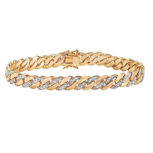 Men's 18K Yellow Gold Plated Genuine Diamond Accent Curb Link Bracelet (9mm), Box Clasp, 9.5 inches
