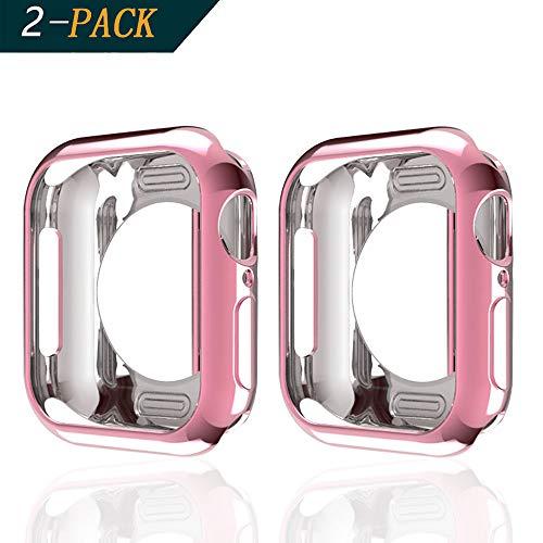 Cerike (2-Pack Cover per Apple Watch Series 4 Custodia, Antiurto Flessibile TPU Protettiva paraurti per iWatch Series 4 (40mm, Rose Pink)