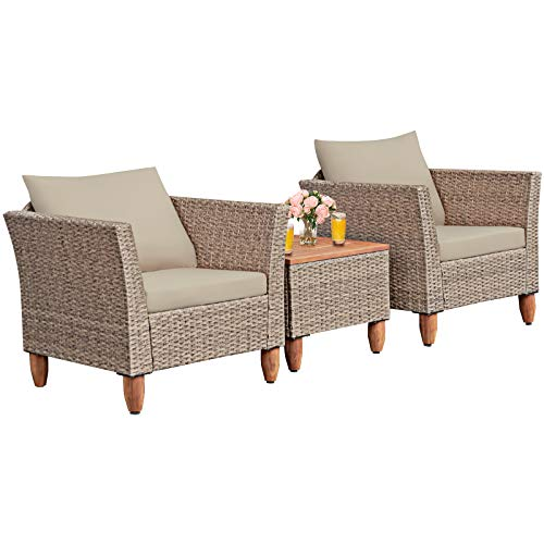 Tangkula 3 Piece Patio Furniture Set, Outdoor Wicker Rattan Bistro Sofa Set w/Washable Cushion, Acacia Wood Top Coffee Table, Conversation Set w/Adjustable Feet for Balcony Backyard Porch (Brown)
