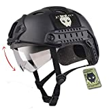 ATAIRSOFT PJ Type Tactical Multifunctional Fast Helmet with Visor Goggles Version Black