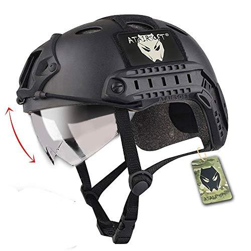 ATAIRSOFT SWAT Kampf PJ Typ Armee Militär Paintball Taktisch Schnelle Helm mit Brille zum Klettern Radfahren Schießen (Schwarz)