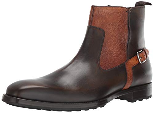 Mezlan Pitt Mens Plain Toe Single Side-Zip Boot - Luxury Calfskin Leather Boots with Side Buckle Accent - Handcrafted in Spain - Medium Width (10.5, Tabac/Tan)