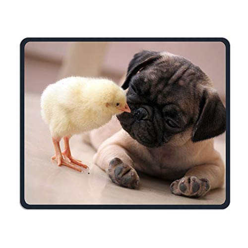 Pug and Chick are Best Friends Office Rectangle Non-Slip Rubber Mouse Pad Comfortable Gaming Mouse Pad for Laptop Displays Tablet Keyboard