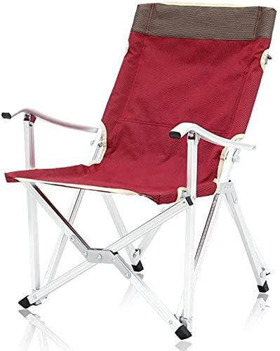 SDKFJ Silla de Camping Silla de Pesca portátil al Aire Libre, sillas de Camping Plegables para jardín, sillón reclinable con Respaldo Alto para Picnic, Playa, Senderismo, Barbacoa 0626(Color:Red)