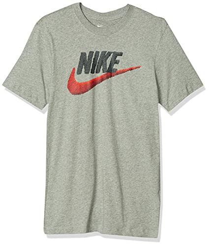 NIKE M NSW tee Brand Mark Camiseta de Manga Corta, Hombre, dk Grey Heather/Black/Habanero Red